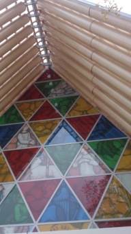 Not a stained glass display but prints of the original stained glass display of the original Cathedral.