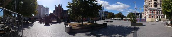 Cathedral Square - with the damaged Christchurch Cathedral.
