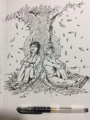 """Syndi-Jean and Sophie enjoy the leaves in this """"Fall"""" prompt"""